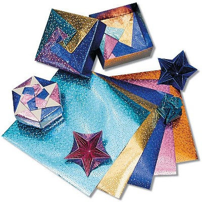 Hygloss Folders Fantasy Foil Embossed Origami Paper, 6 x 6 Inches, Assorted Colors, 100 Sheets