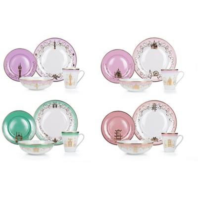 Robe Factory LLC Disney Themed 16 Piece Ceramic Dinnerware Set Collection 2   Plates   Bowls   Mugs
