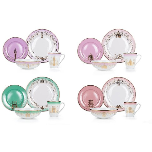 Robe Factory LLC Disney Princess 16-Piece Ceramic Dinnerware Set   Tiana, Rapunzel, Aurora, Mulan - image 1 of 4