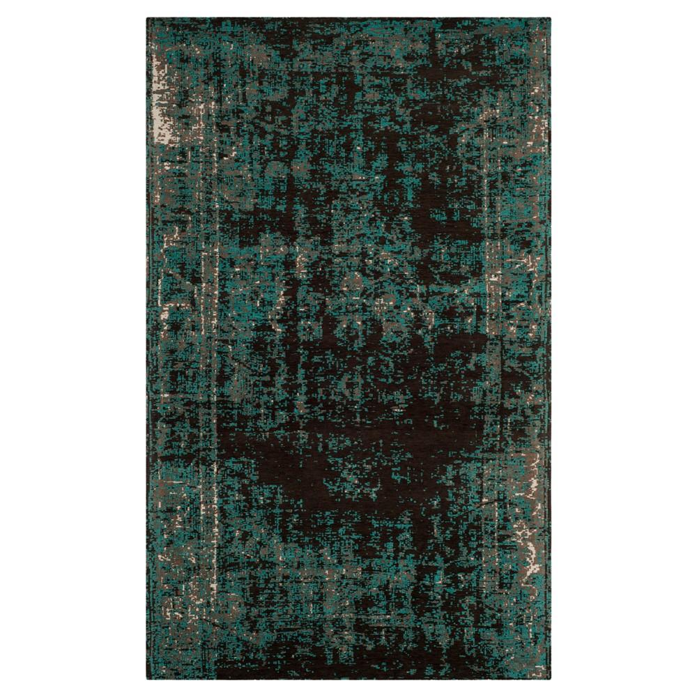5'X8' Burst Area Rug Teal/Brown (Blue/Brown) - Safavieh