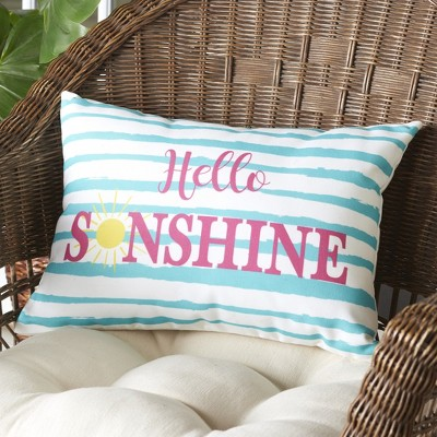 Lakeside Colorful Striped Hello Sunshine Outdoor Patio Chair Accent Pillow