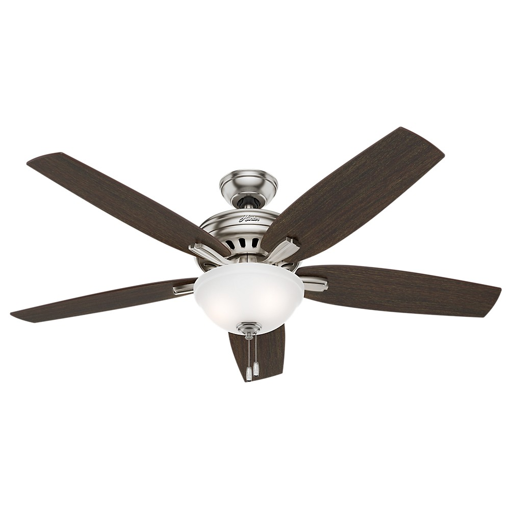 """Image of """"56"""""""" Newsome Brushed Nickel Ceiling Fan with Light - Hunter Fan"""""""