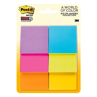 """Post-it 6pk 2"""" x 2"""" Super Sticky Notes 45 Sheets/Pad - Rio de Janeiro Collection"""