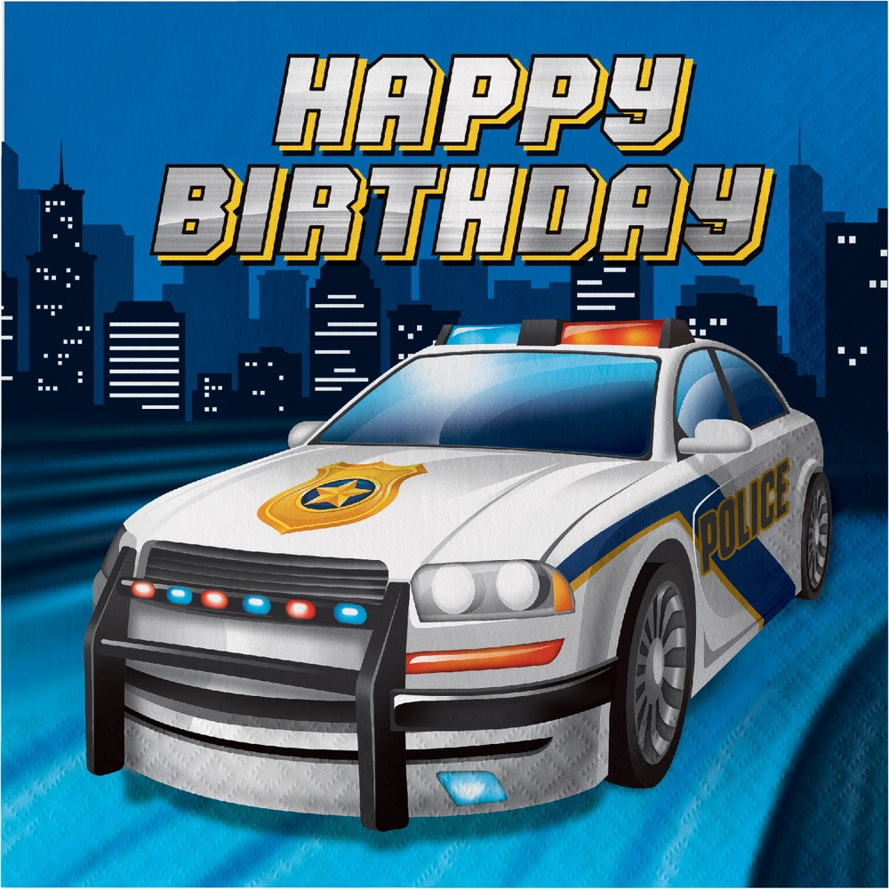 Image of 16ct Creative Converting Police Party Birthday Napkins