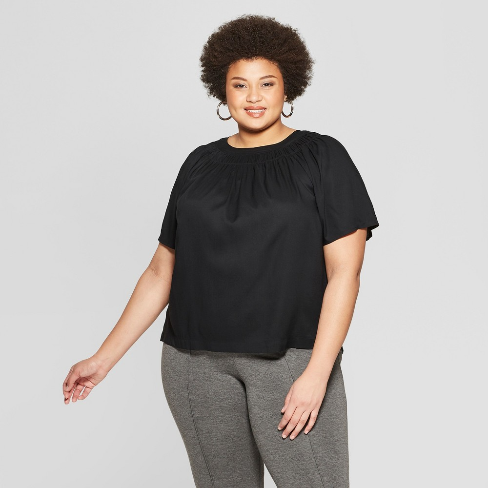 Women's Plus Size Short Sleeve Scoop Neck Smocked Woven Top - Ava & Viv Black 3X