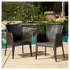 Anaya Set of 2 Wicker Patio Dining Chair - Brown - Christopher Knight Home - image 2 of 4