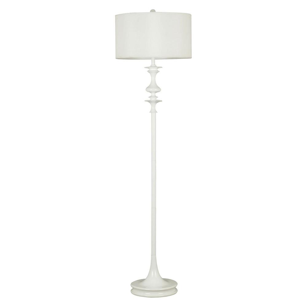 Image of 3-way Gloss Finish Claiborne Floor Lamp White - Kenroy Home