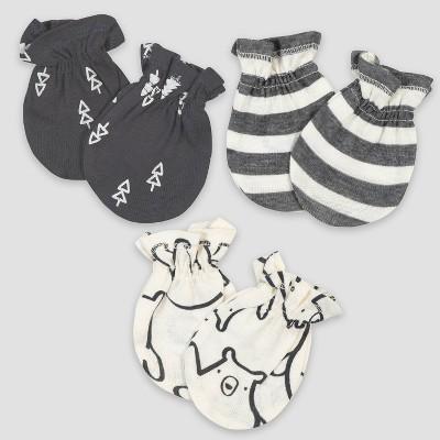 Gerber Baby Boys' 3pk Bear Mittens - Black