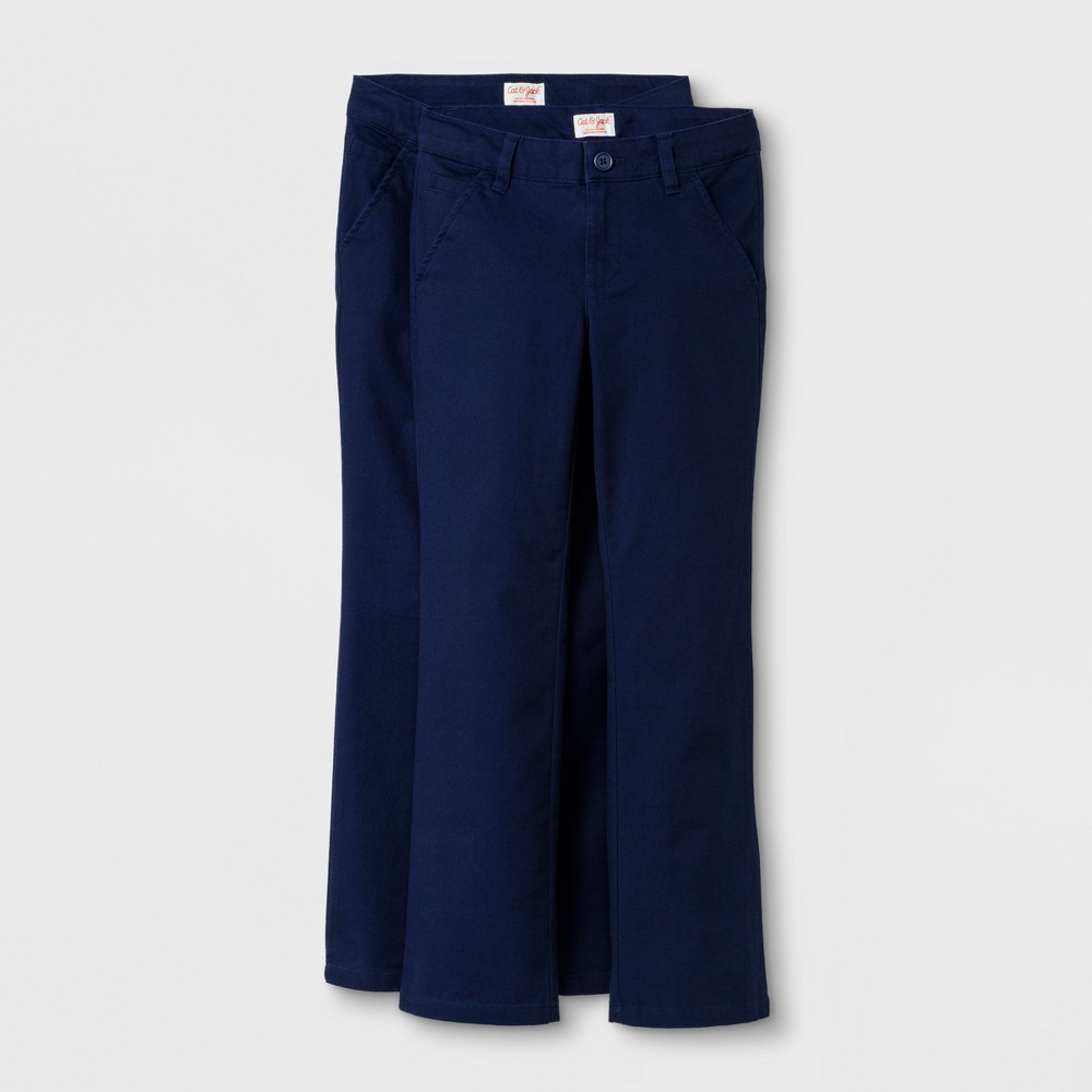 Girls' 2pc Bootcut Twill Uniform Chino Pants - Cat & Jack Navy (Blue) 6X
