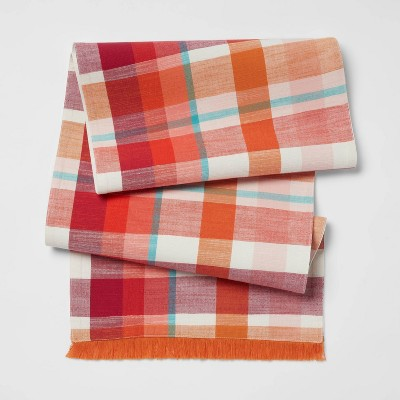 "72"" x 14"" Cotton Plaid Table Runner Orange - Opalhouse™"