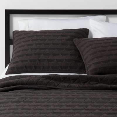 Full/Queen Triangle Stitched Jersey Quilt Black - Project 62™ + Nate Berkus™