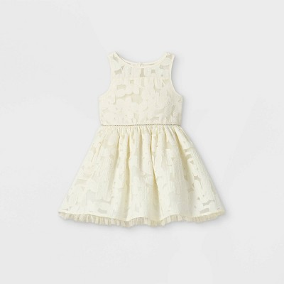 Mia & Mimi Toddler Girls' Floral Tulle Tank Dress - White