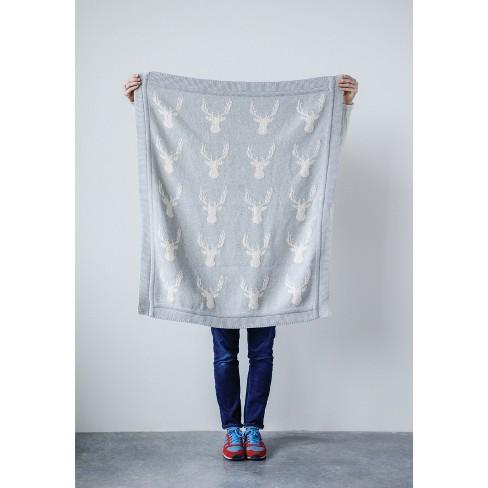 Throw Blanket Reindeer Gray - 3R Studios - image 1 of 2