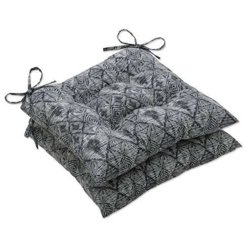 """2pc 19"""" x 18.5"""" Outdoor/Indoor Wrought Iron Seat Cushion Set Nesco Stone Black - Pillow Perfect - image 1 of 1"""
