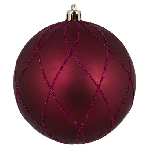 Vickerman 8 Berry Red Matte And Glitter Swirl Ball Ornament Target