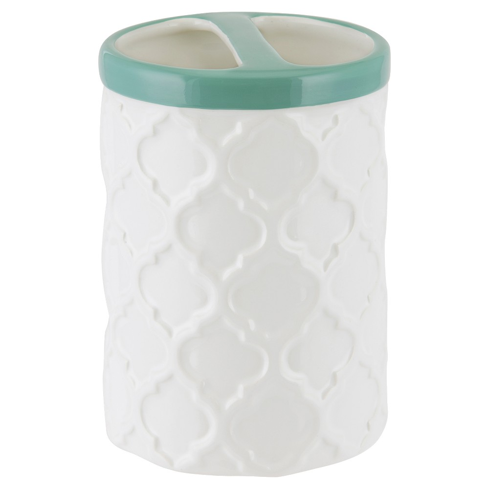Image of Watery Floral Toothbrush Holder Aqua - Allure