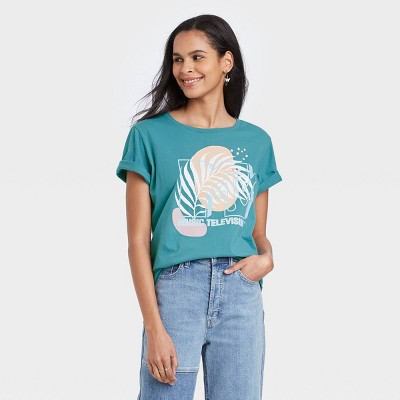Women's MTV Floral Print Short Sleeve Graphic T-Shirt - Teal