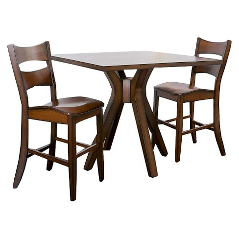 Tehama 3pc Square Counter Height Wood Bistro Set Dark Brown Christopher Knight Home
