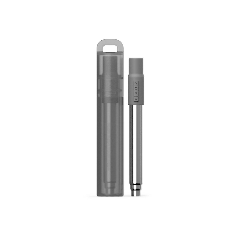 Image of Zoku Stainless Steel Straw Charcoal, Grey