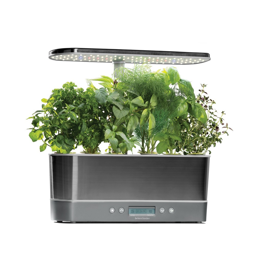 Image of AeroGarden Harvest Elite Slim with Gourmet Herbs 6-Pod Seed Kit - Platinum (White)