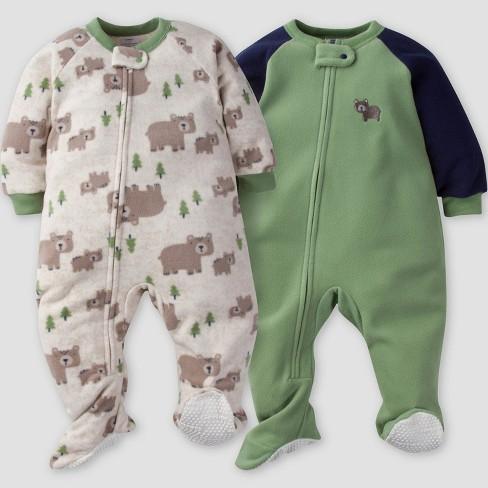 Gerber 174 Baby Boys 2pk Bear Micro Fleece Blanket Sleeper