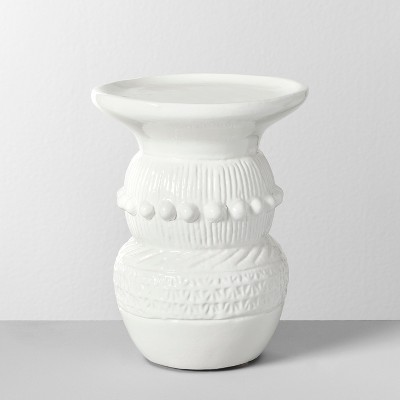 6.2  x 5  Etched Terra Cotta Pillar Candle Holder White - Opalhouse™