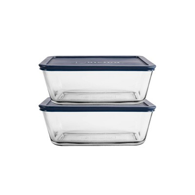 Anchor 2pk Square Sandwich Containers with Blue Lids