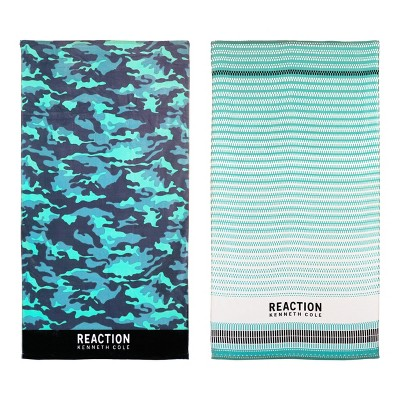 "Kenneth Cole Reaction Camo/Geo Teeth Bath Towel, Cotton-Terry, Assorted, 36"" X 68"""