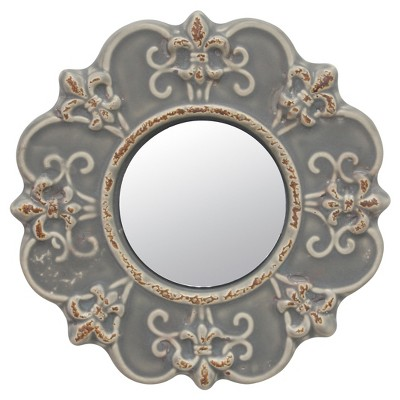 "8"" Ceramic Wall Mirror With Decorative Details Matte Gray - Stonebriar Collection"