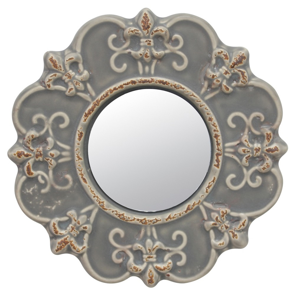 Image of Ceramic Wall Mirror With Decorative Details Matte Gray