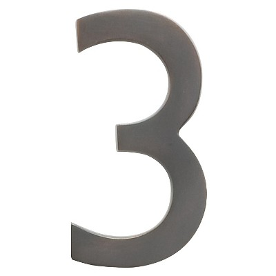 """Architectural Mailbox 4"""" Cast Floating House Number 3 Dark Copper"""