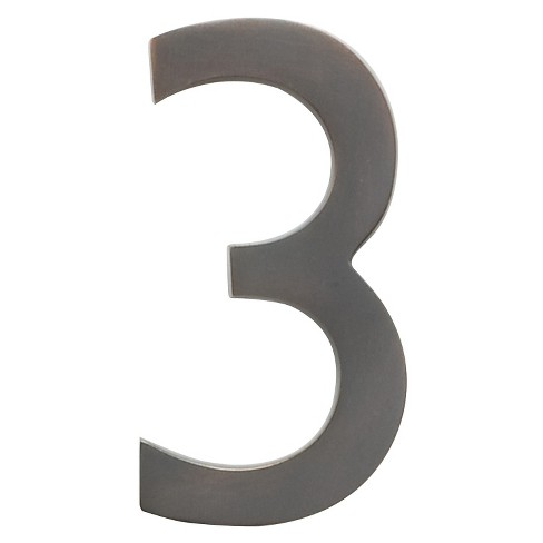 "Architectural Mailbox 4"" Cast Floating House Number 3 Dark Aged Copper - image 1 of 1"