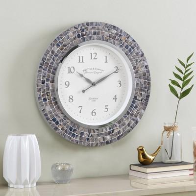 Vivien Pearl Mosaic Clock Blue - FirsTime