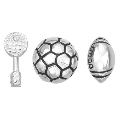 """Treasure Lockets 3 Silver Plated Charm Set with """"Go Team"""" Theme - Silver"""