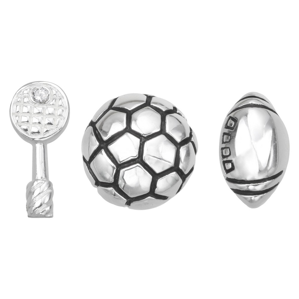 "Image of ""Treasure Lockets 3 Silver Plated Charm Set with """"Go Team"""" Theme - Silver, Women's"""