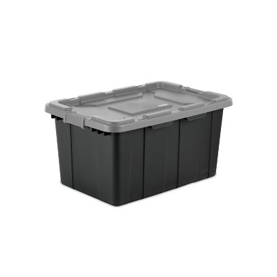 Sterilite 27gal Industrial Tote Black With Gray Lid and Latches