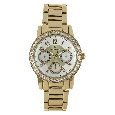 Women's Peugeot Silver Dial Multifunction watch with crystals from Swarovski - Gold - image 1 of 4