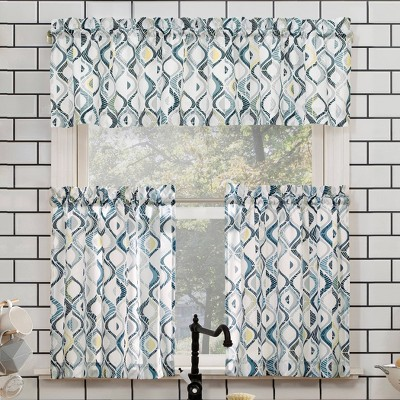 "24""x54"" Barker Geometric Semi Sheer Rod Pocket Kitchen Curtain Valance and Tiers Set Blue/Gray - No. 918"