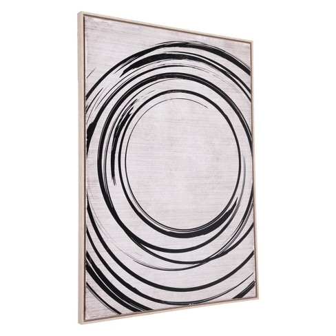 "ZM Home 57"" Modern Rectangular Framed Canvas Black/Cream - image 1 of 3"