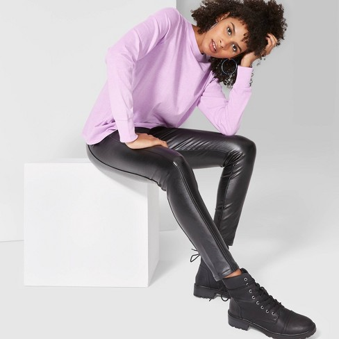 Women's High-Rise Seamed Faux Leather Leggings - Wild Fable™ Black  - image 1 of 3