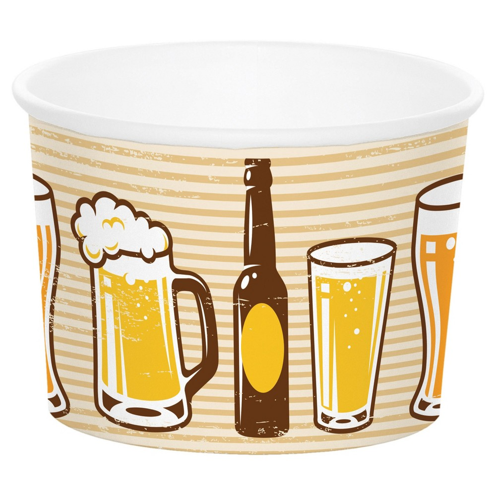 """6ct Cheers & Beers Treat Cups Make use of the Cheers and Beers Treat Cups to pass out small gifts and treats or stack them at the snack table. Measuring 2.5"""" x 3.5"""", the paper cups feature a fun pattern of beer mugs, glasses, and bottles on a striped background. The treat cups come in packs of 6 and coordinate with other Cheers and Beers party supplies. Color: Multi-Colored. Pattern: Solid."""