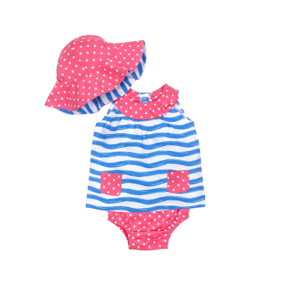Gerber Baby Girls' 3pc Waves Dress, Panty and Reversible Hat - Pink/Blue 0-3M