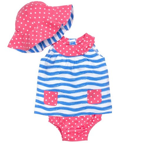 Gerber® Baby Girls' 3pc Waves Dress, Panty and Reversible Hat - Pink/Blue - image 1 of 2