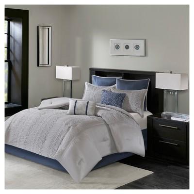 Gray Lillian Embroidered Comforter Set California King 8pc