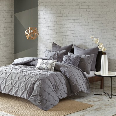 Gray Jude Embroidered Duvet Cover Set (Full/Queen)7pc