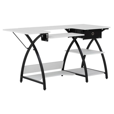 Studio Designs Comet Hobby Sewing Machine Table Desk with Storage, Black & White