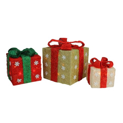 Lighted Christmas Boxes Decoration.Northlight Set Of 3 Lighted Gold Green Cream Sisal Gift Boxes Christmas Outdoor Decorations