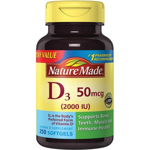Nature Made Vitamin D Dietary Supplement Softgels - 250ct - image 1 of 3