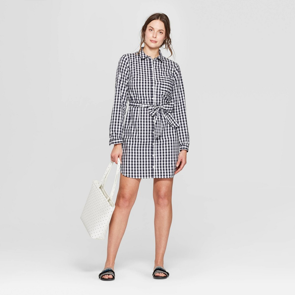 Women's Printed Long Sleeve Menswear Shirtdress - A New Day Navy/White XS, Blue