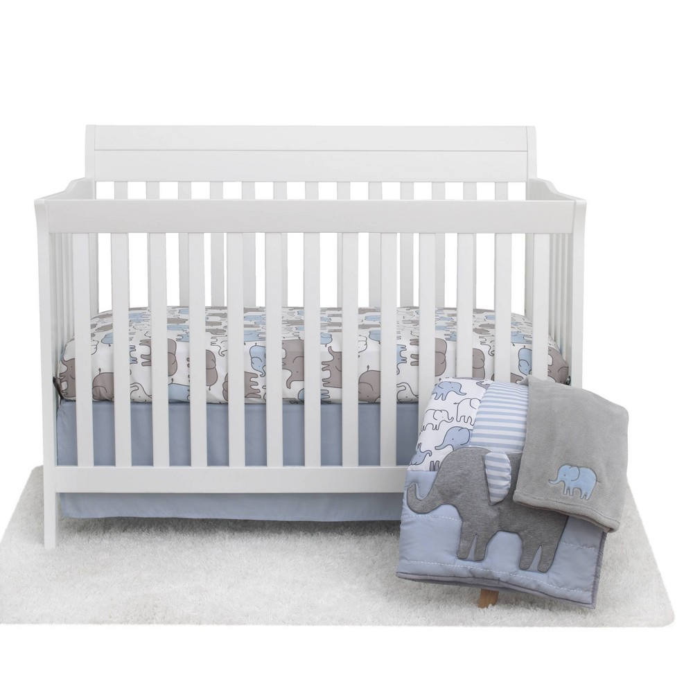 Image of Elephant Crib Bedding Set - Just One You made by carter's - Blue 4pc